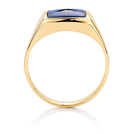 Men's Ring with Cubic Zirconia & Blue Spinel in 10ct Yellow Gold