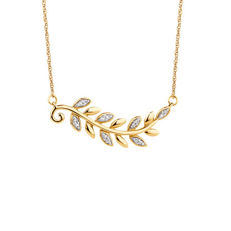 Olive Leaf Necklace with Diamonds in 10ct Yellow Gold