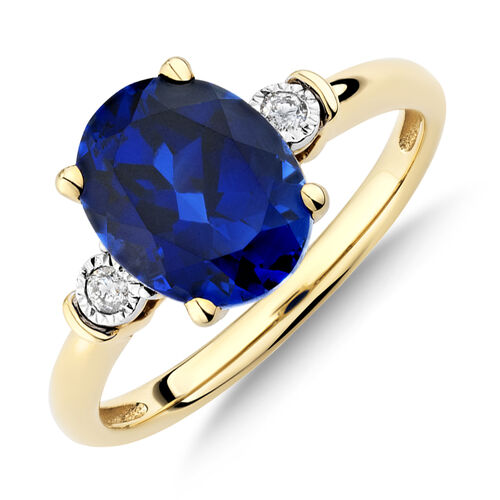 Ring With Created Sapphire & Diamonds In 10ct Yellow Gold