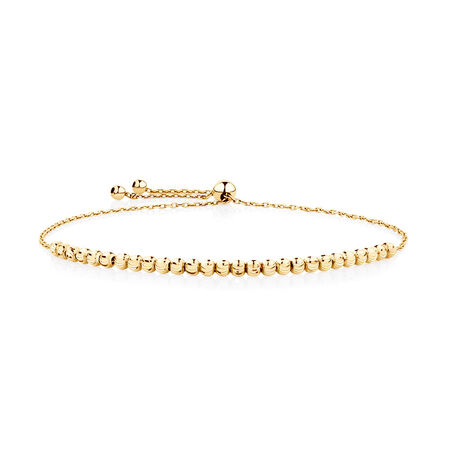Adjustable Beaded Bracelet in 10ct Yellow Gold
