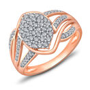 Cluster Ring with 0.50 Carat TW of Diamonds in 10ct Rose Gold