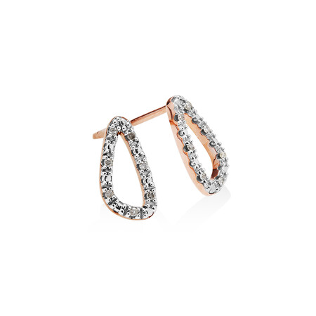Organic Shape Earrings with Diamond in 10ct Rose Gold