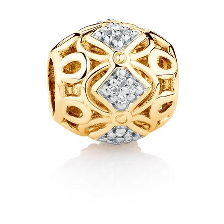 Diamond Set Charm in 10ct Yellow Gold