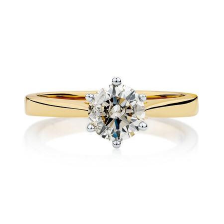 Solitaire Engagement Ring with 1.25 Carat Diamond in 14ct Yellow & White Gold