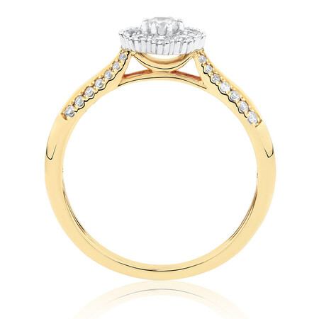 Engagement Ring with 1/2 Carat TW of Diamonds in 10ct Yellow & White Gold