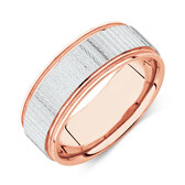 8mm Patterned Ring in 10ct White & Rose Gold