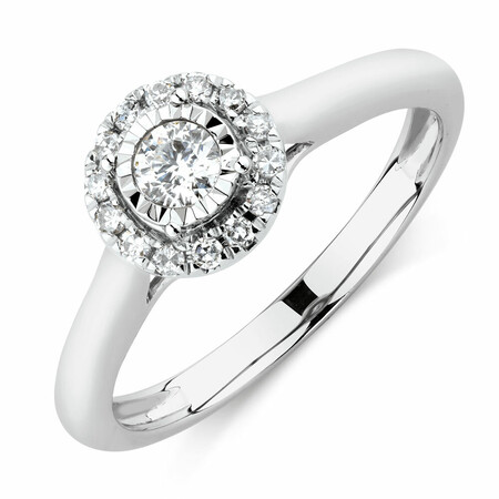 Engagement Ring with 1/4 Carat TW of Diamonds in 10ct White Gold
