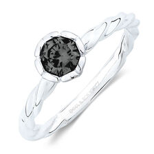 September Stacker Ring with Black Cubic Zirconia in Sterling Silver