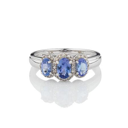 Three Stone Ring with Tanzanite & 0.20 Carat TW of Diamonds in 10ct White Gold