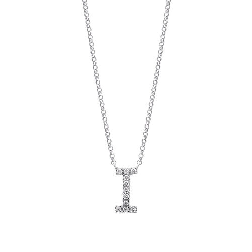 """I"" Initial necklace with 0.10 Carat TW of Diamonds in 10ct White Gold"