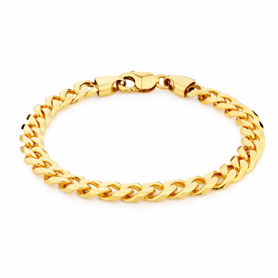 "23cm (9.5"") Curb Bracelet in 10ct Yellow Gold"