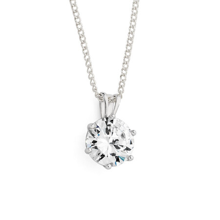 Pendant with Cubic Zirconia in 10ct White Gold