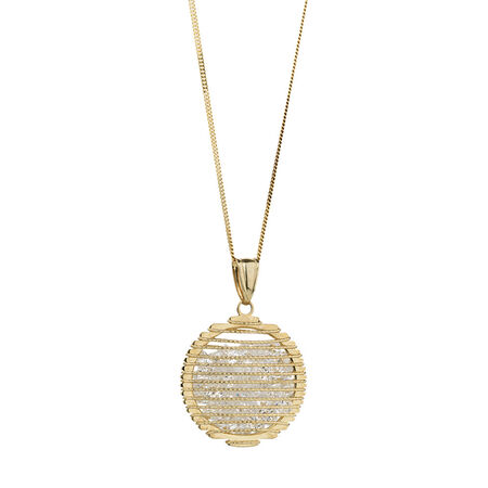 Online Exclusive - Fancy Circle Pendant with Cubic Zirconia in 10ct Yellow Gold