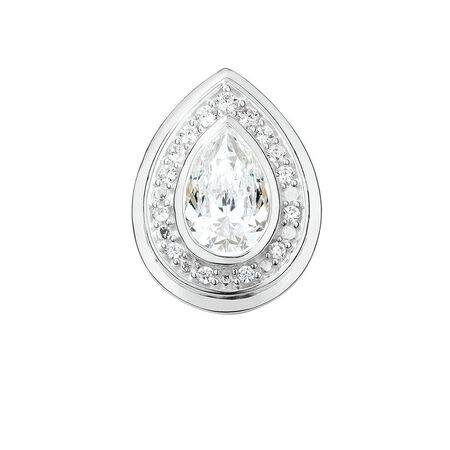 Mini Coin Locket with White Cubic Zirconia in Sterling Silver