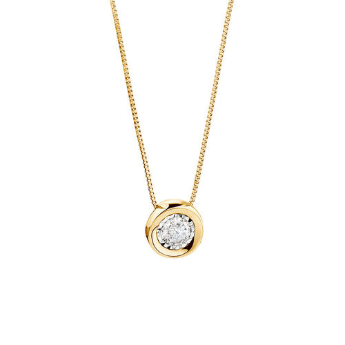 Pendant with a 1/4 Carat TW Diamond in 10ct Yellow Gold
