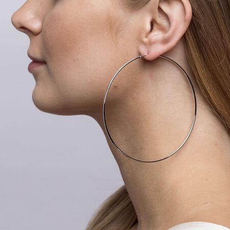 80mm Hoop Earrings in Sterling Silver
