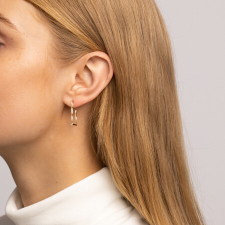 Twisted Rectangle Hoop Stud Earrings in 10ct Yellow Gold