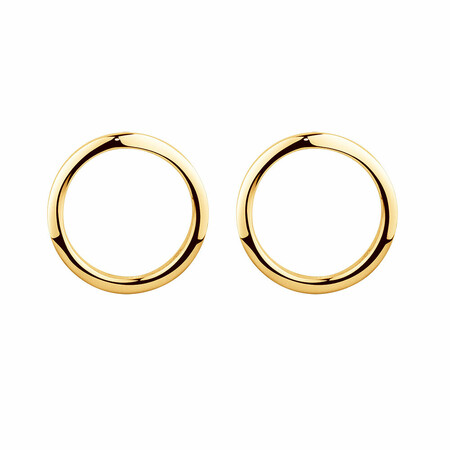 Open Circle Stud Earrings in 10ct Yellow Gold