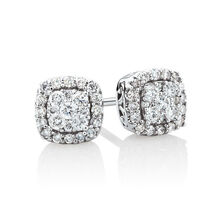 Stud Earrings with 1/3 Carat TW of Diamonds in 10ct White Gold