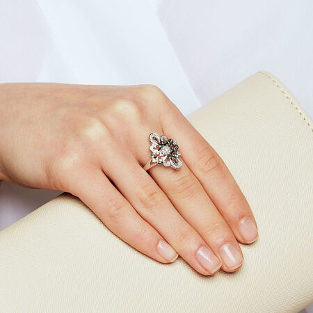 Online Exclusive - Michael Hill Designer Ring with 0.16 Carat TW of Diamonds in Sterling Silver & 10ct Rose Gold