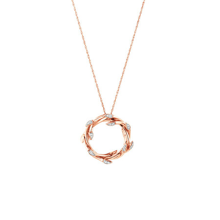 Small Willow Pendant with Diamonds in 10ct Rose Gold
