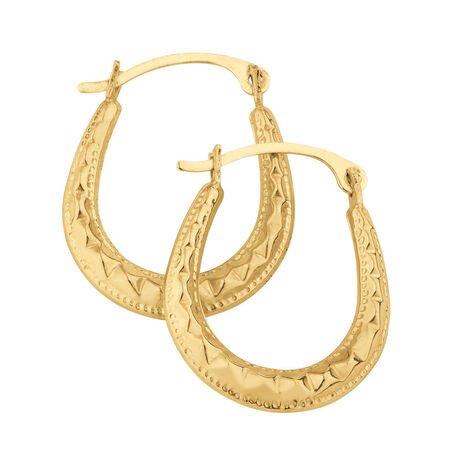 Patterned Hoops in 10ct Yellow Gold