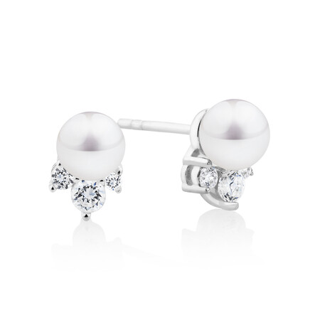Stud Earrings with Cultured Freshwater Pearl & Cubic Zirconia In Sterling Silver