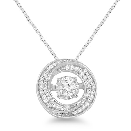 Everlight Swirl Pendant with 0.15 carat TW of Diamonds in 10ct White Gold