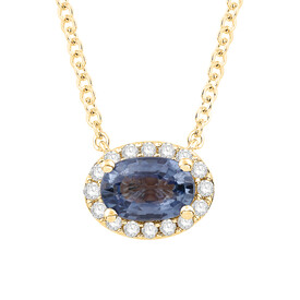 Necklace with Sapphire and Diamond in 10ct Yellow Gold