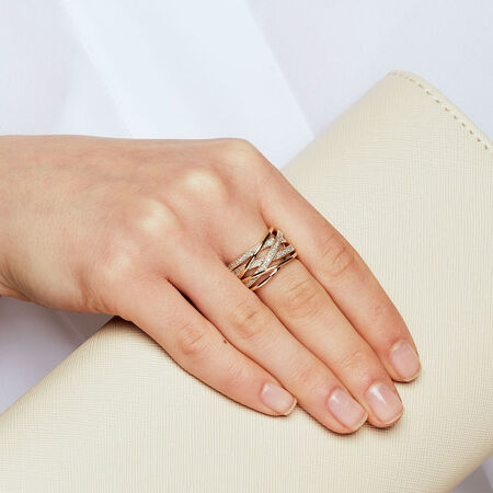 Crossover Ring with 1/4 Carat TW of Diamonds in 10ct Yellow Gold