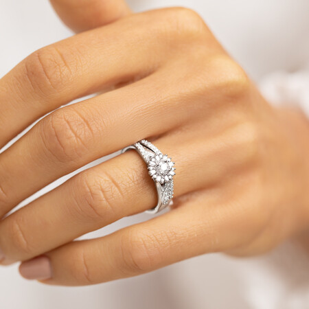 Bridal Set with 0.38 Carat TW Of Diamonds in 10ct White Gold