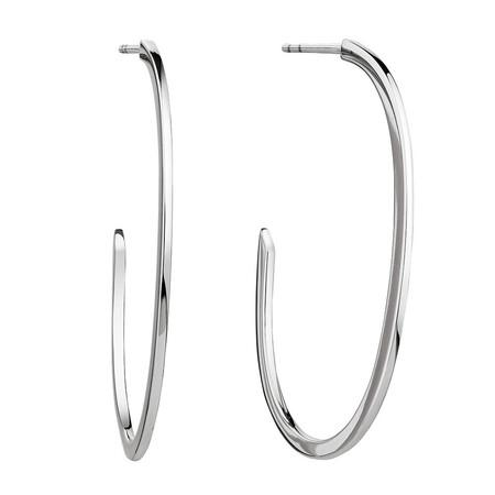 Open Oval Hoop Earrings in Sterling Silver