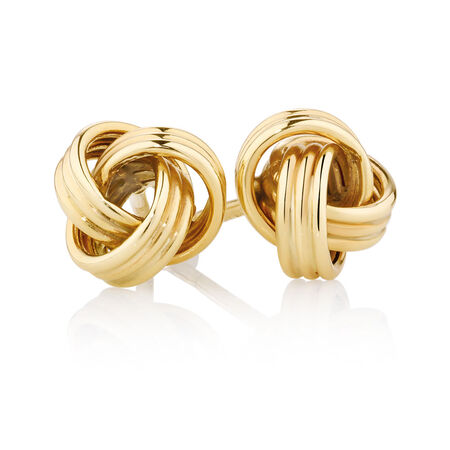 Knotted Stud Earrings in 10ct Yellow Gold