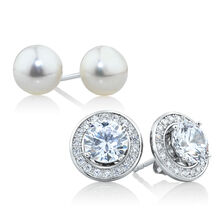 Stud Earring Set with Cultured Freshwater Pearl & Cubic Zirconia in Sterling Silver