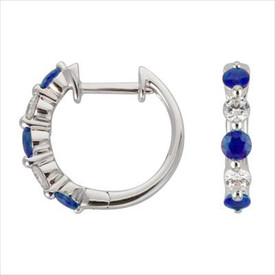 Mini Hoop Earrings with Natural Sapphire & 0.19 Carat TW of Diamonds in 10ct White Gold