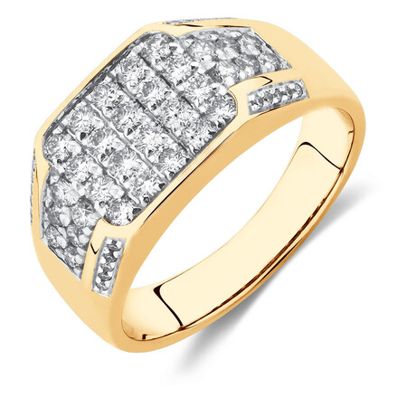Men's Ring with 1 Carat TW of Diamonds in 10ct White & Yellow Gold