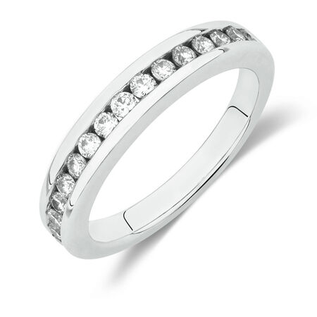 Online Exclusive - Wedding Band with 1/2 Carat TW of Diamonds in 18ct White Gold