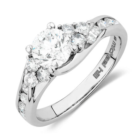 Engagement Ring with 1 1/2 Carat TW of Diamonds in 14ct White Gold