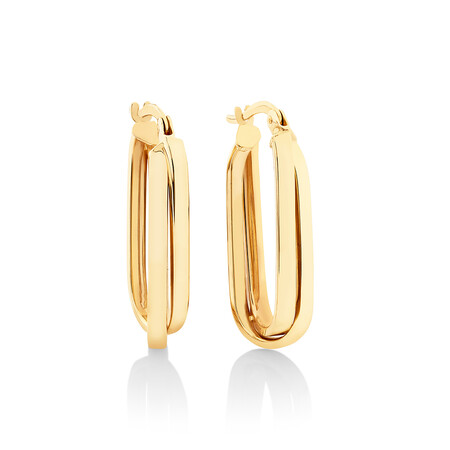 25mm Paperclip Hoop Earrings in 10ct Yellow Gold