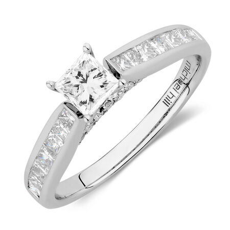 Engagement Ring with 1.15 Carat TW of Diamonds in 14ct White Gold