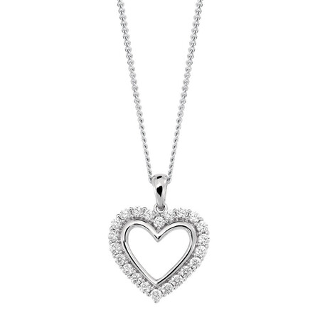 Heart Pendant with Cubic Zirconias in Sterling Silver
