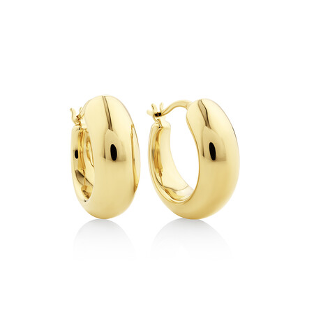 15mm Round Hoop Earrings in 10ct Yellow Gold