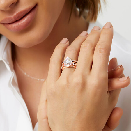 Evermore Halo Engagement Ring with 0.75 Carat TW of Diamonds in 14ct Rose Gold