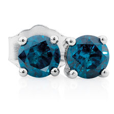 Stud Earrings with 0.46 Carat TW of Enhanced Blue Diamonds in 10ct White Gold
