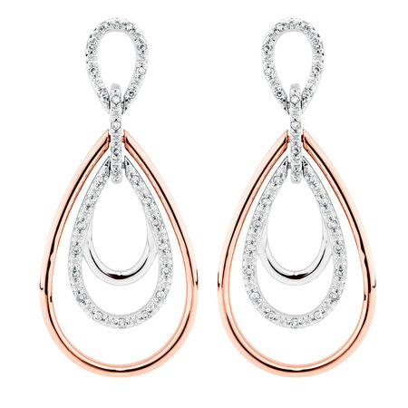 Drop Earrings with 0.20 Carat TW of Diamonds in 10ct Rose Gold & Sterling Silver