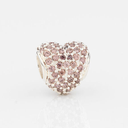 Online Exclusive - Heart Charm with Pink Cubic Zirconia in Sterling Silver