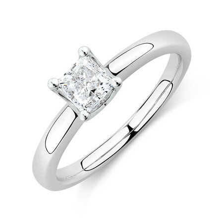 Whitefire Solitaire Engagement Ring with a 0.70 Carat TW Diamond In 18ct White & 22ct Yellow Gold