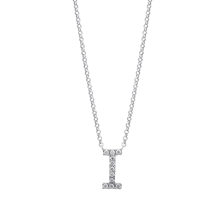 """""""I"""" Initial necklace with 0.10 Carat TW of Diamonds in 10ct White Gold"""