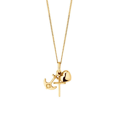 Faith, Hope & Charity Pendant in 10ct Yellow Gold