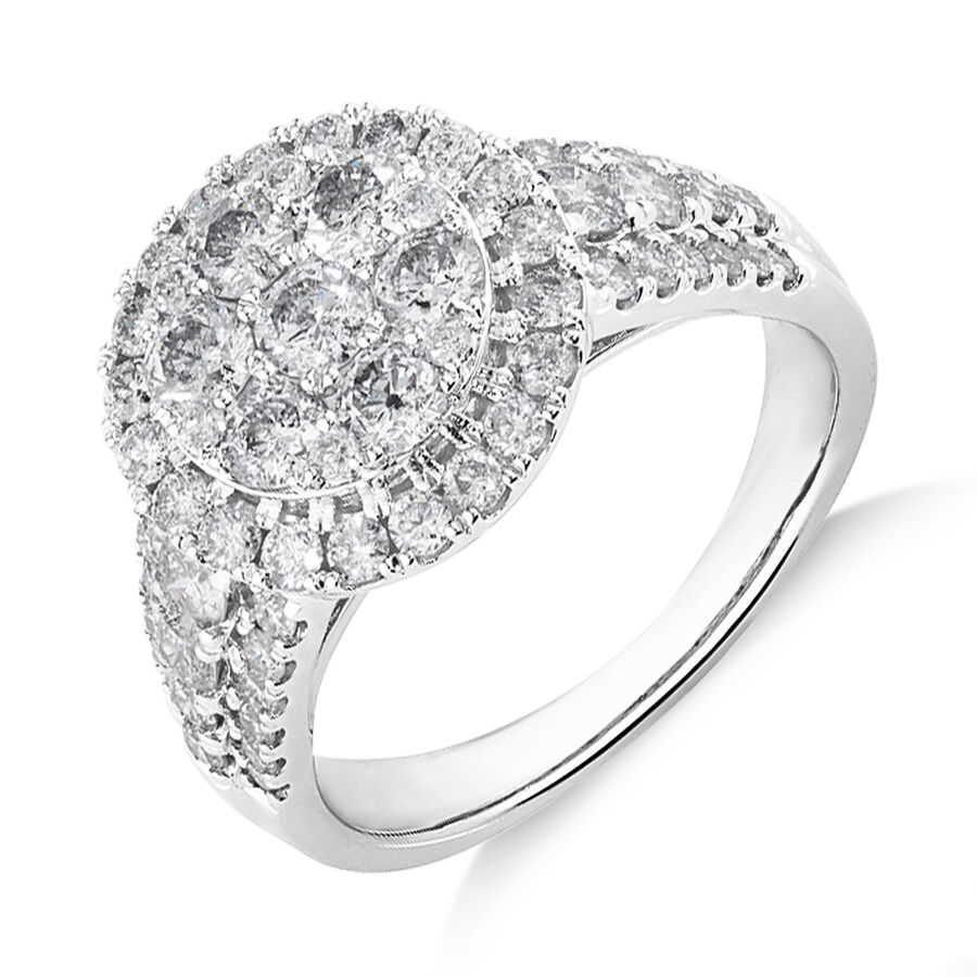 Halo Ring with 2 Carat Of Diamonds in 10ct White Gold